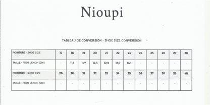 tableau des pointures pour le modèle Nioupi de Pom d'Api