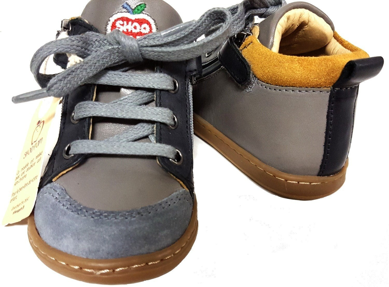 Shoo Pom en cuir gris et noir, la Bouba Bi Zip à lacets et 2 zips
