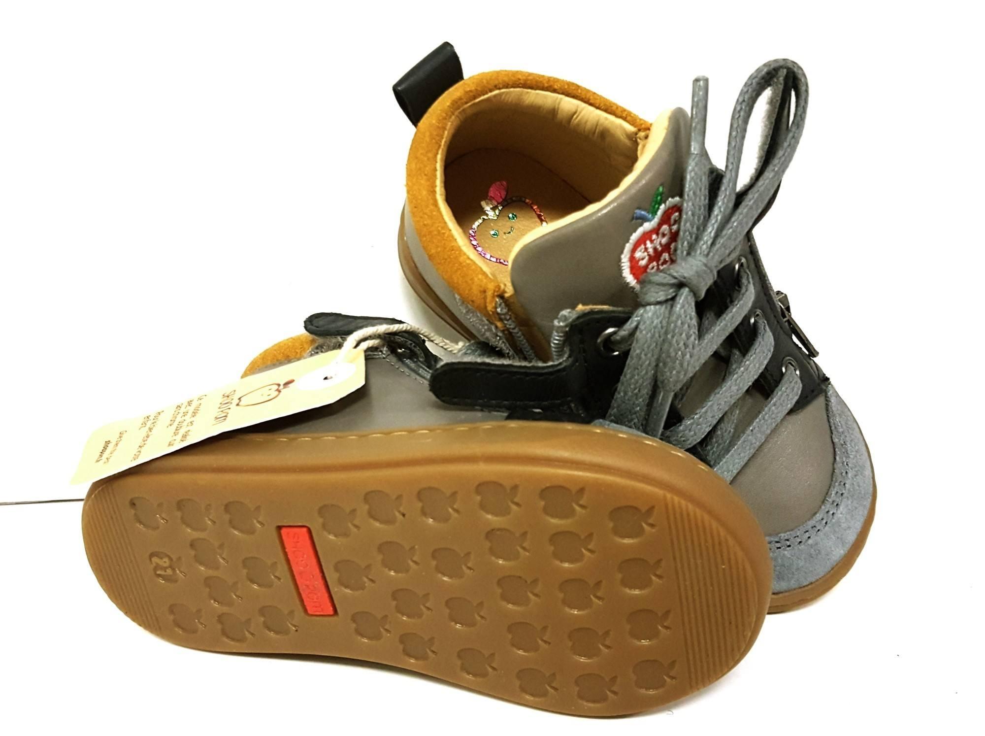 Chaussure premiers pas en cuir gris et noir la Bouba Bi Zip by Shoo Pom