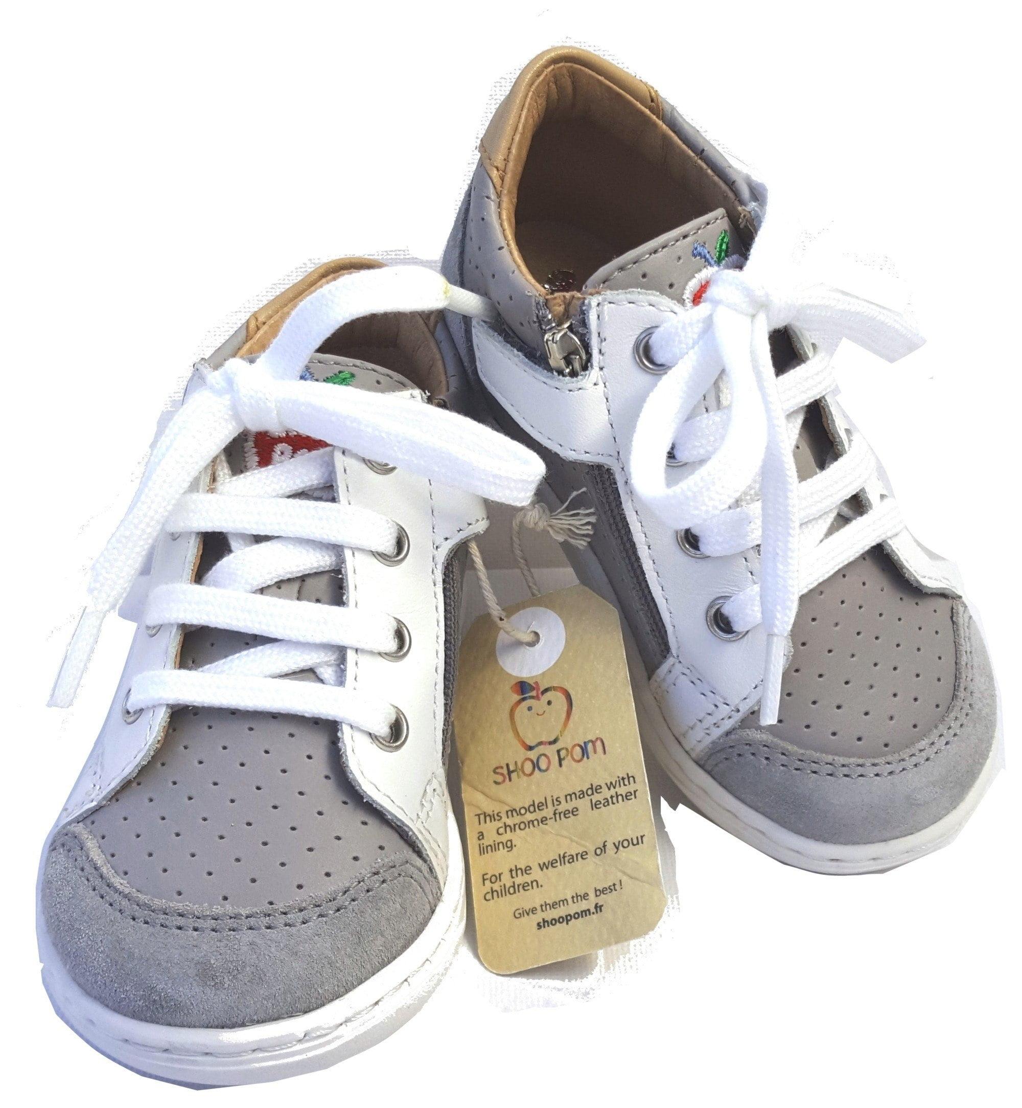 Shoo Pom, Bouba zip Box en cuir gris et blanc pour les premiers pas à lacets et 1 zip