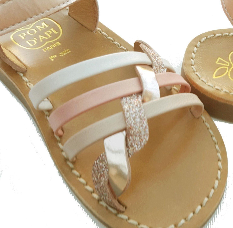 sandale Yapo Tressé multi en cuir avec velcro