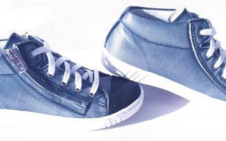 Un cuir bleu jean pour cette chaussure mi montante à lacets et 1 zip. Modèle Vaudou fabriqué en France par Bellamy