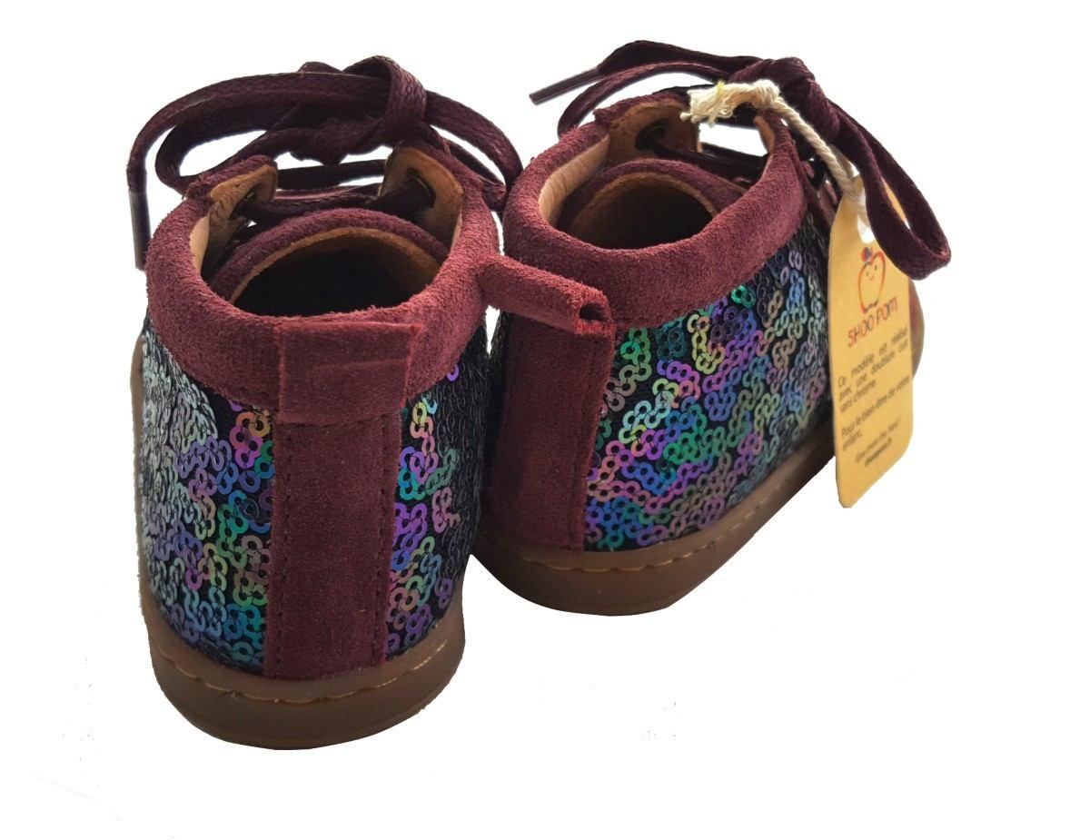 Shoo Pom, un botillon premiers pas en cuir velours berry et sequins multi à lacets, la Bouba New Cover Sequins