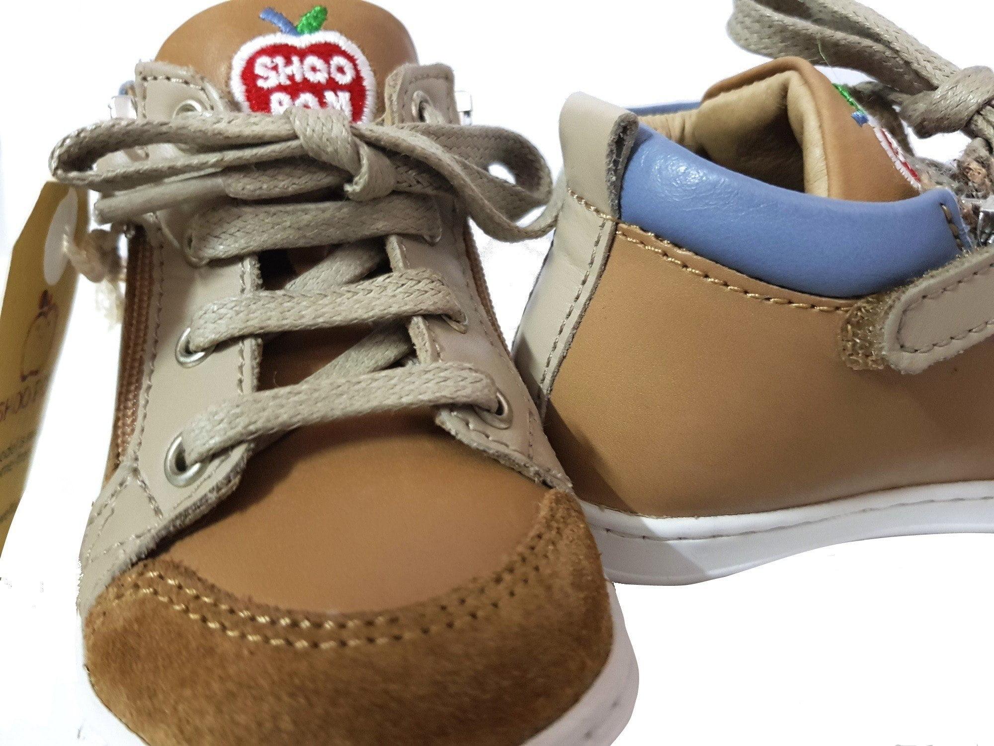Bouba Bi Zip Regat en cuir camel, taupe et jean à lacets et 2 zips, modèle premiers pas de Shoo Pom