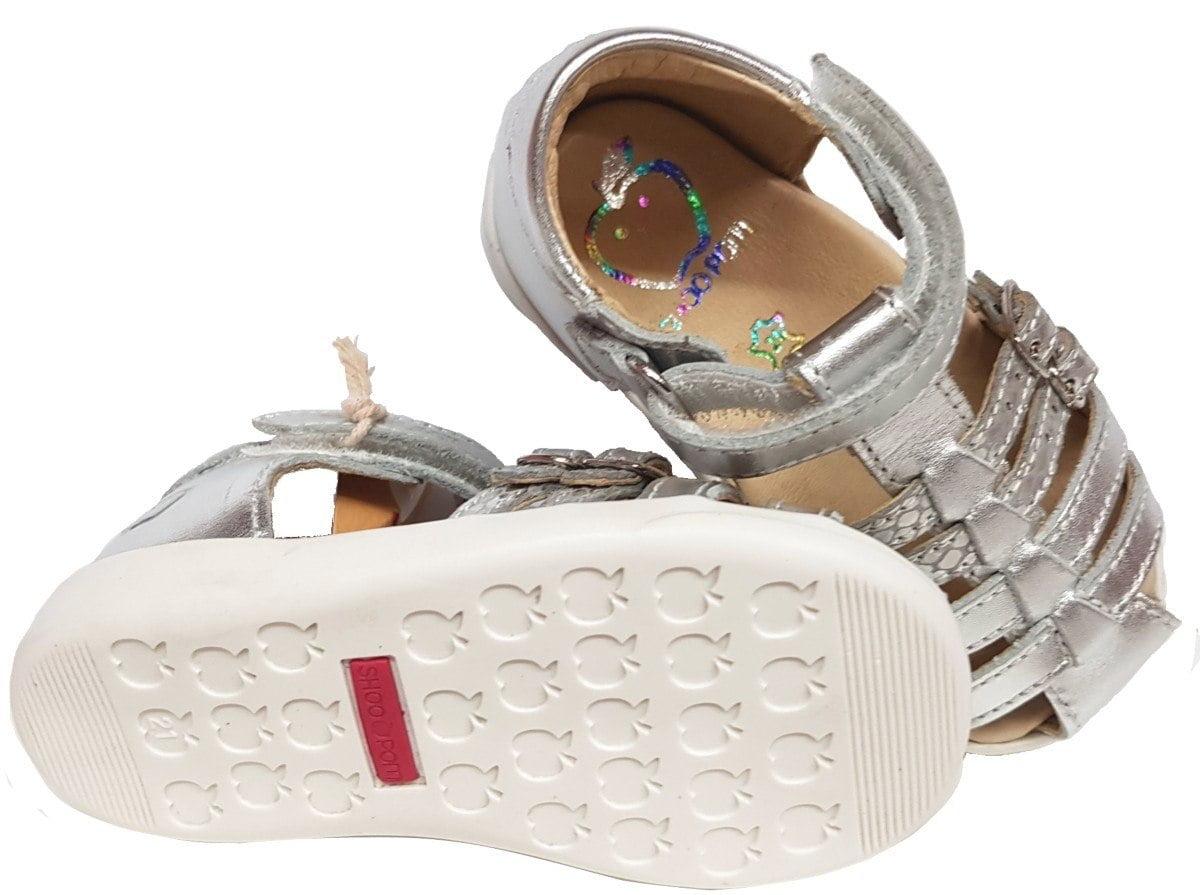 Pika Spart nu-pied fermé premiers pas en cuir argent métallisé avec 2 brides à boucle et 1 velcro