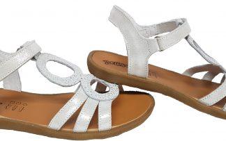 Bellamy, sandale Angers en cuir argent dotée de cercles irisés et fermée par une bride à boucle