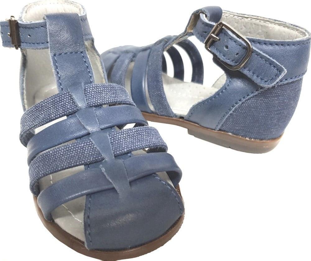 pour les premiers pas, Delta un nu-pied fermé Little Mary en cuir et textile Jeans fermé par 1 bride à boucle