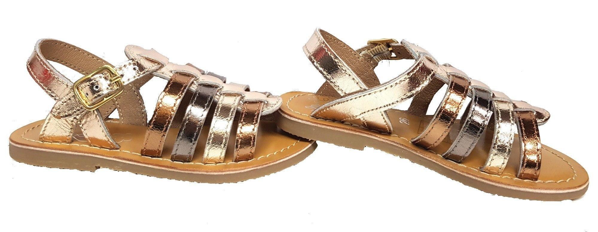 Barbade, nu-pied Little Mary à boucle et multi lanières en cuir métal bronze, or et cuivre