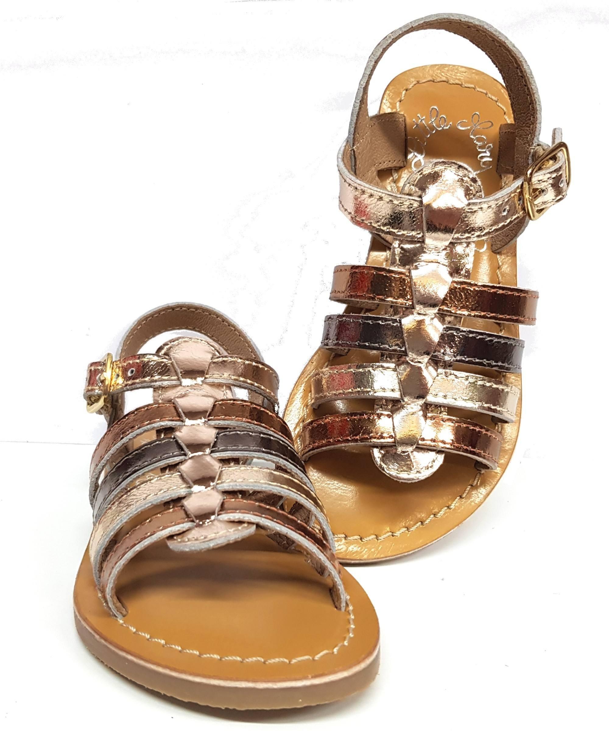 nu-pied Barbade Little Mary en cuir métal bronze, cuivre et or fermé par 1 bride à boucle