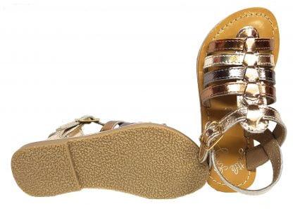 Little Mary, un nu-pied à multiples lanières en cuir métal bronze, or et cuivre, Barbade fermé par 1 bride à boucle