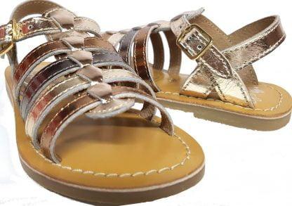 un cuir métal avec des lanières bronze, or et cuivre et 1 bride à boucle pour la Barbade de Little Mary