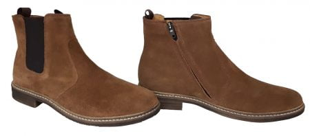 un cuir velours caramel pour la Brother Jodzip avec un élastique sur la tige côté extérieur et un zip latéral, boots mixte de Pom d'Api