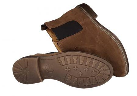 Brother Jodzip, une boots Pom d'Api mixte pour junior en cuir velours camel avec élasique sur le côté extérieur et 1 zip latéral