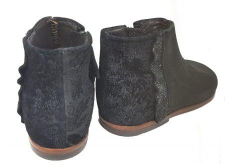 un cuir grainé et cuir velours imprimé noir pour la bottine Fanchon pour premiers pas de Little Mary à zip latéral
