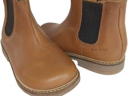 Retro Jodzip, une boots en cujir lisse avec élastique sur la tige et un zip latéral, modèle Pom d'Api mixte
