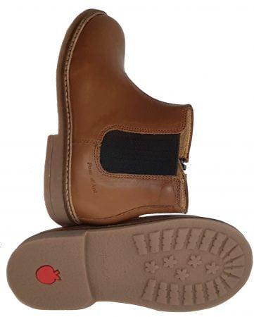 un cuir lisse camel pour la boots Retro Jodzip de Pom d'Api dotée d'un élastique extérieur et d'un zip latéral, modèle mixte
