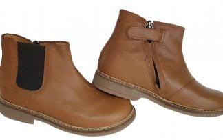 boots avec élastique et zip intérieur en cuir lisse camel, modèle modèle mixte Retro Jodzip signé Pom d'Api