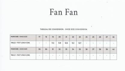 Tableau pour pointure modèle fanfan de Pom d'Api