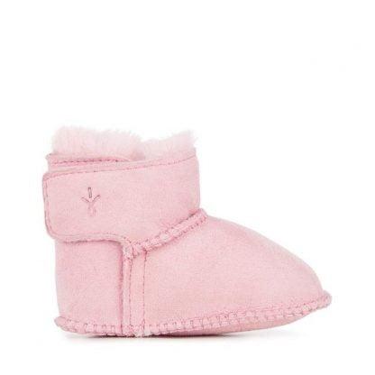 pour nouveau-né, botte en peau de mouton fourrée rose. modèle Baby Toddle signé Emu fermé par 1 velcro