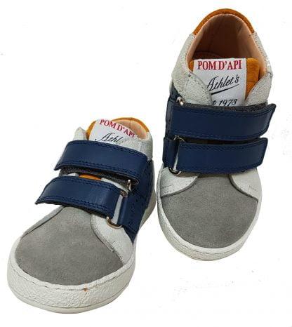 un cuir marine et velours gris pour le bottillon Mousse Dop, chaussure pour enfant Pom d'Api