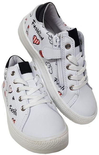 Un cuir blanc imprimé pour la basket Pensée de Bellamy, modèle à lzcets et 1 zip