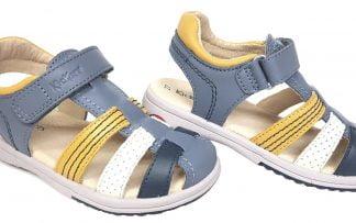 chaussure enfant Kickers, modèle Platinium, nu-pied fermé pour garçon en cuir bleu et lanières cuir marine, blanc et jaune fermé par 1 bride à velcro