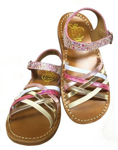 yapo lux by pom d'api, une sandale cuir rose multi et or avec des lanières entrelacées et une bride à boucle