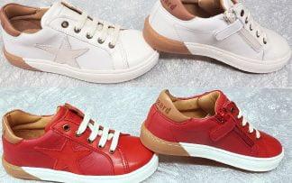 basket cuir blanc et camel ou rouge et camel fermé par 1 lacet et 1 zip, modèles Bisgaard