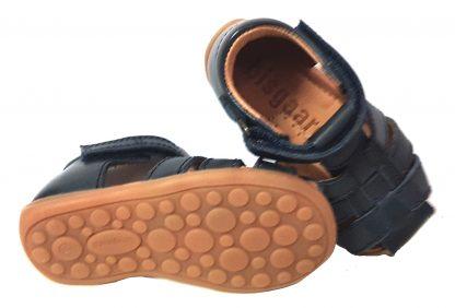 nu-pied pour enfant Bisgaard en cuir marine à velcro, doté d'un contrefort pour les premiers pas, modèle 71206