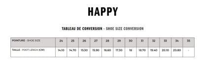 guide des pointures pour le modèle sandale Happy de Shoo Pom