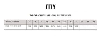 guide des pointures pour le modèle sandale Tity de Shoo Pom