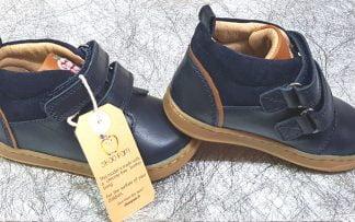chaussure enfant Shoo Pom, Bouba Boy Velcro en cuir lisse et velours marine, modèle premiers pas fermé par 2 velcros
