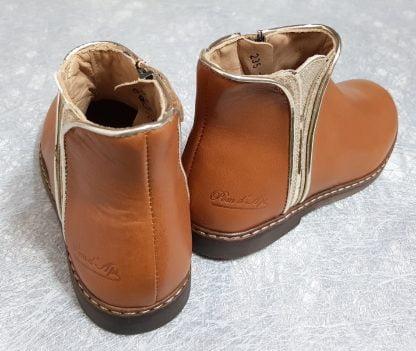 chaussure enfant Pom d'Api en cuir lisse camel et empiècements cuir métal et glitter or, bottine City Art fermé par 1 zip