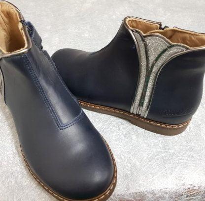 chaussure enfant Pom d'Api en cuir lisse marine et empiècement cuir métal et glitter argent, bottine City Art fermée par 1 zip