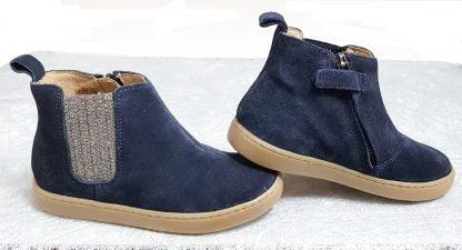 chaussure enfant, style bottine en cuir velours marine agrémentée d'un élastique pailleté et fermé par 1 zip, modèle Play Shine de Shoo Pom