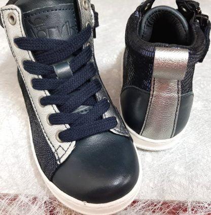 basket haute pour fille en cuir lisse et métal marine et empiécements argent, Bis de Nörvik à lacets et 1 zip