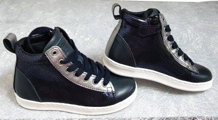 chaussure enfant style sneaker en cuir lisse et métal marine avec empiècements argent, Bis de Nörvik à lacets et 1 zip