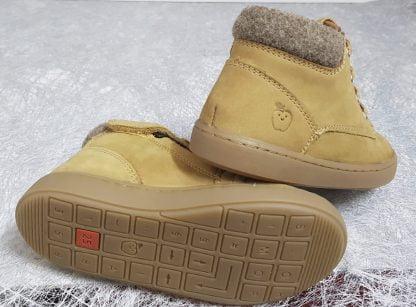 chaussure haute pour garçon en cuir camel ferlmé par 1 lacet et 1 zip