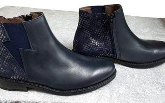 boots Senlis pour fille à zip en cuir marine orné de sequins sur la tige arrière, modèle Bellamy