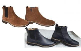 les bottines Brother Jodzip en cuir velours camel ou marine sont dotées d'un élastique s'aisance sur le côté, modèles pour junior Pom d'Api fermées par 1 zip