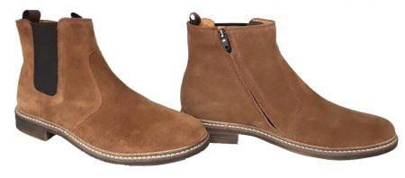 un cuir velours camel pour la Brother Jodzip avec un élastique sur la tige côté extérieur et un zip latéral, boots mixte de Pom d'Api