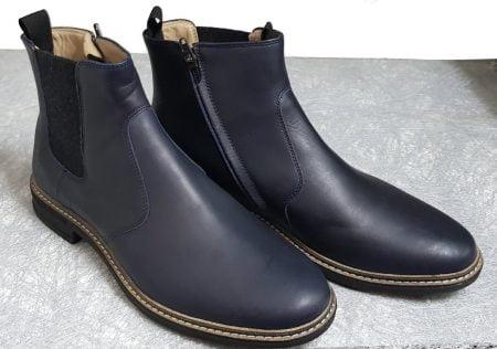 un cuir marine pour la Brother Jodzip avec un élastique sur la tige côté extérieur et un zip latéral, boots mixte de Pom d'Api