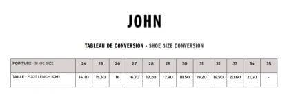 tableau des tailles du modèle John air Line