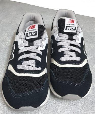 basket basse pour enfant cuir et textile blanc, noir et gris à lacets, modèle GR997 de New balance