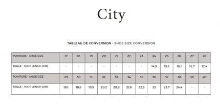 Guide pointure des modèles City de Pom d'Api