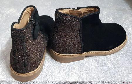 chaussure enfant Pom d'Api, modèle bottine en cuir velours noir et pailleté multi fermé par 1 zip, Retro Back