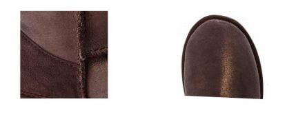 Wallaby, une botte en daim premium pour enfant chocolat irisé fourrée 100% laine mérinos australienne, modèle Emu