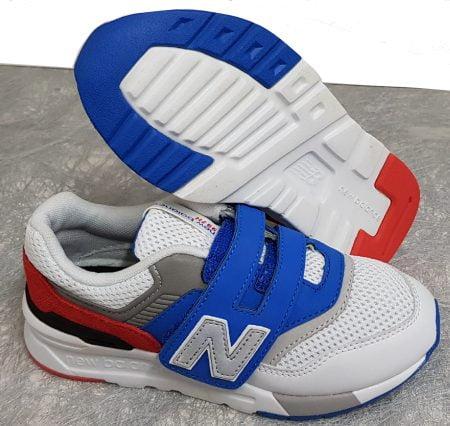 basket enfant 997 de New Balance, légère et stylée, coloris bleu, blanc, gris, rouge et noir, elle se ferme par 1 velcro