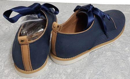 chaussure junior style derby en cuir marine et cognac à lacets, modèle Tap de Bellamy