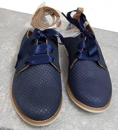 Tap est une derby pour enfant en cuir marine et empiècements cognac, chaussure Bellamy à lacets
